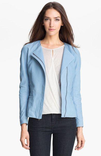 e843a4a81e Theory Blue Enora Leather Jacket | Blue Leather Jacket | Leather ...