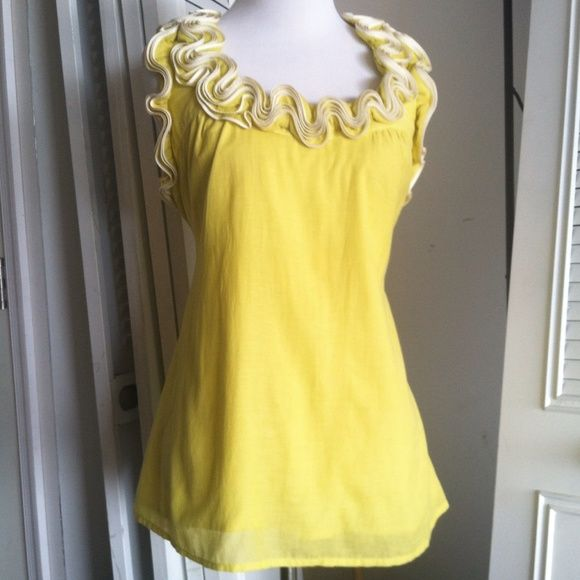 "Anthropologie baraschi yellow ruffled tunic top Beautiful top from anthropologie. In like new condition. Fully lined lightweight cotton viscose blend, super comfortable. Ties at the waist for a fitted look. Measurements lying flat are: bust 18"", waist 18"", length from back neck to hem 25"". Anthropologie Tops Blouses"