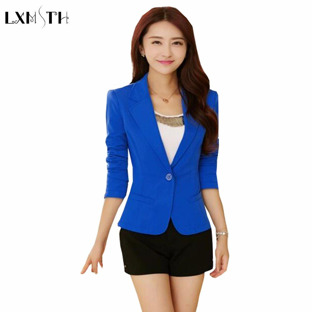 2019 Black Yellow Blue Formal Female blazer Jackets short blasers mujer Women'…