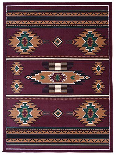 Rugs 4 Less Collection Southwest Native American Indian Area Rug Design R4l Sw3 In Burgundy Maroon 8 X10