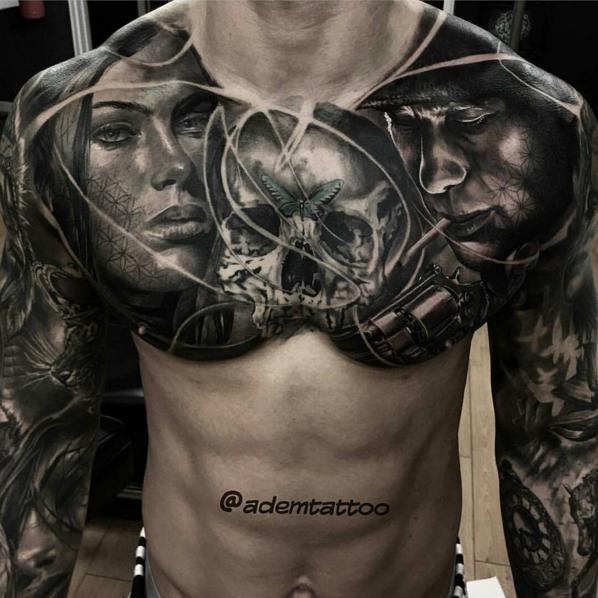 Chest Piece Tattoos, Tattoos, Chest