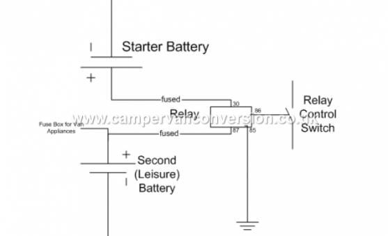 Old School Leisure Battery Split Charge Relay Diagram Campervan Electricity Diagram