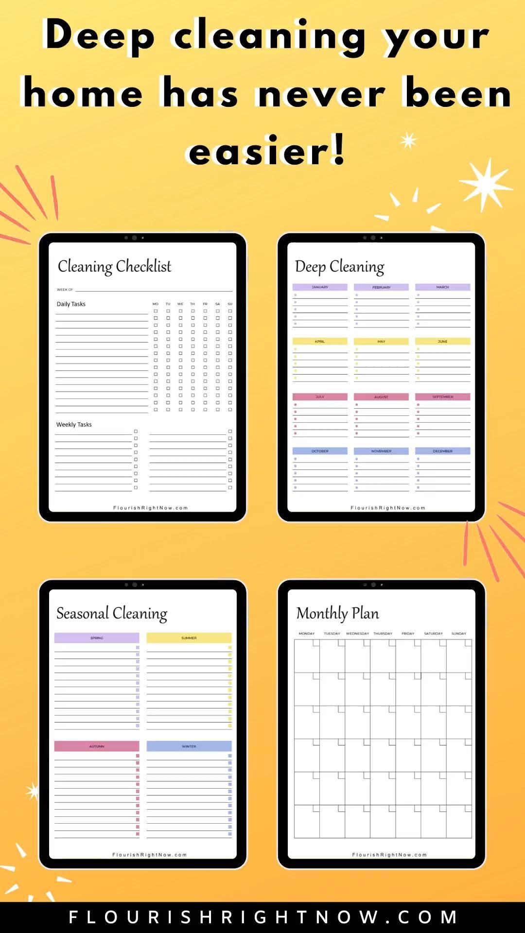 Household Cleaning Digital Planner Chores Deep Spring   Etsy [Video]  [Video] in 20   Seasonal cleaning, Seasonal cleaning checklist, Cleaning  household