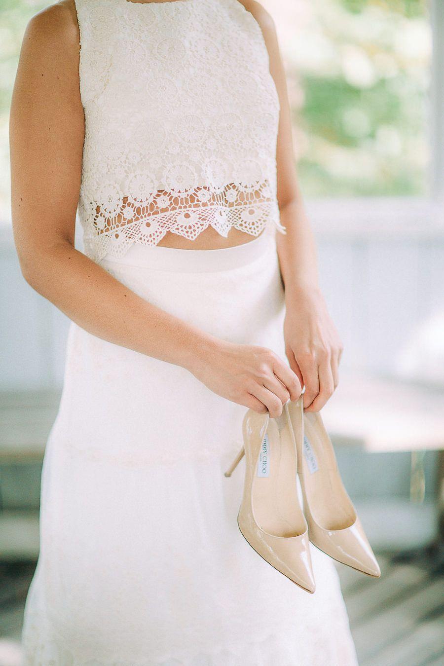 Wedding inspiration shoot in Finland.   Petra Veikkola Photography Wedding dress: Pukuni Styling: AINO / Satu & Pukuni / Saara Model: Wilma, Modelpoint Bride, boho, vintage, crop top, lace dress.