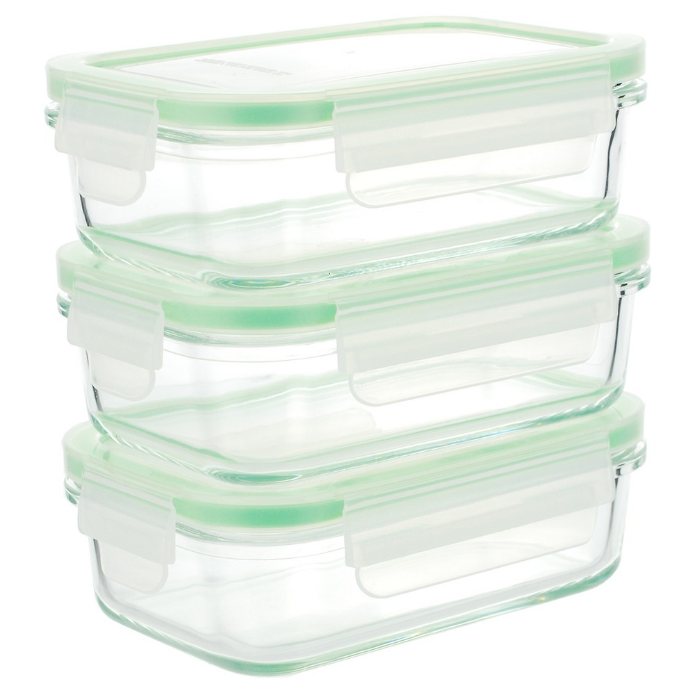Amazon Com Kinetic Go Green Glasslock Food Storage Container Set 01351 With Lids Food Storage Container Set Glass Food Storage Containers Glass Food Storage