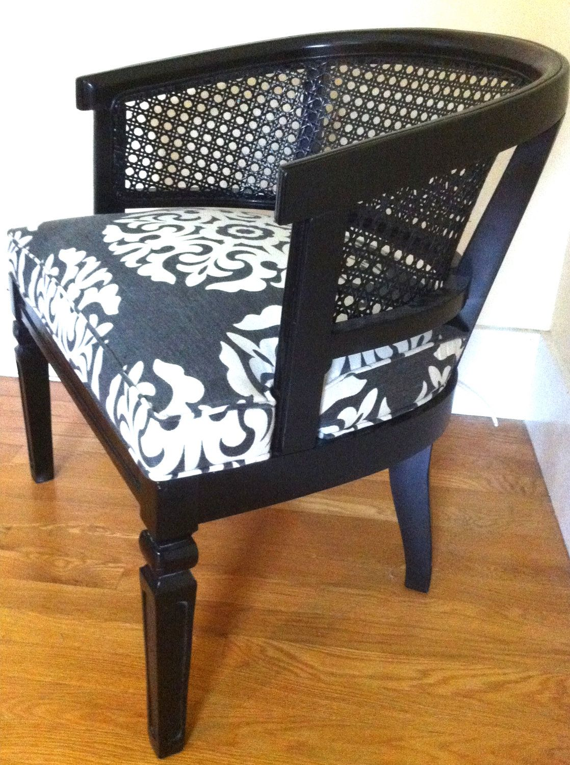 RESERVED FOR CHRISTINE The Kohl Chair A Black Caned Barrel Chair With  Medallion Motif In Grey And White Duralee Fabric