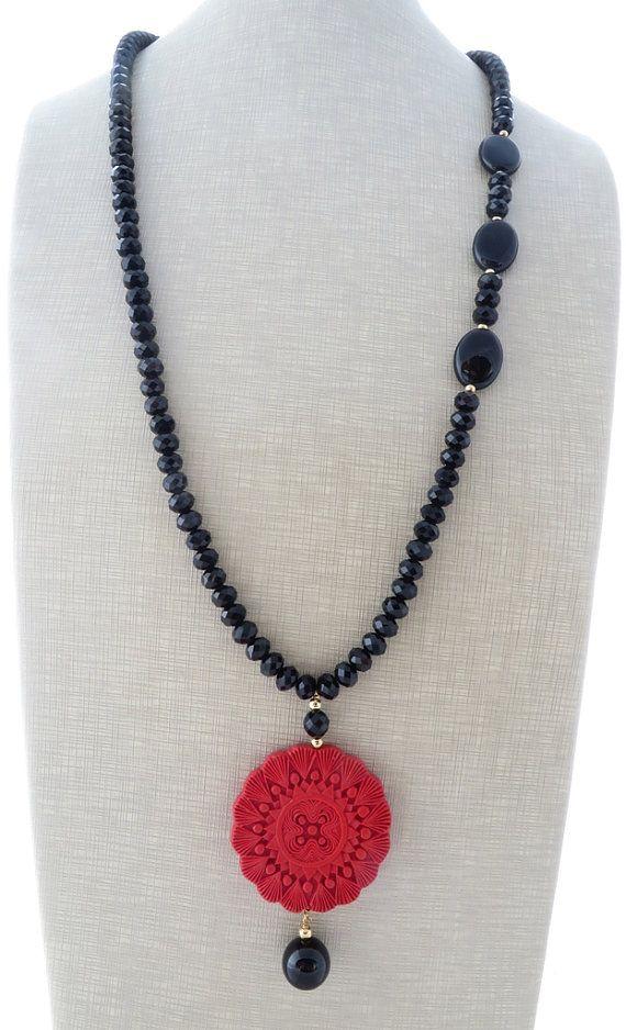 Red cinnabar necklace, black crystal necklace, pendant necklace ...