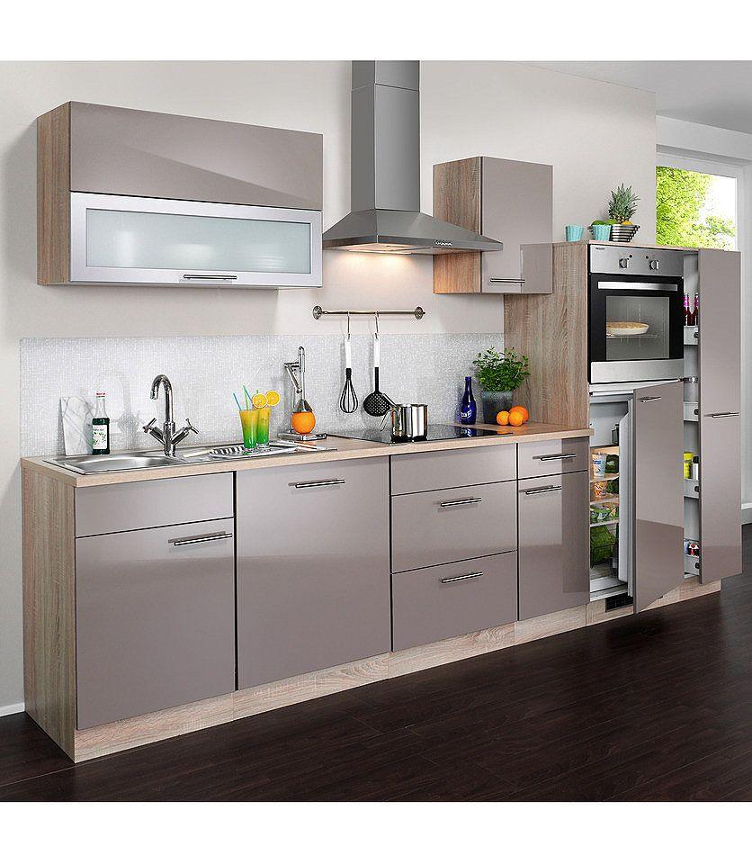 U Küchen Mit Elektrogeräten Küchenzeile »Montana Glanz«, Inkl. Elektrogeräte,  Breite 300