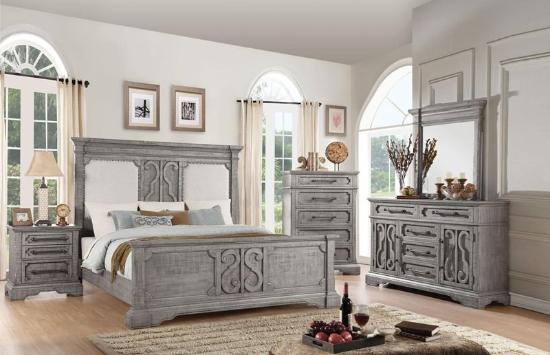 Artesia modern farmhouse style bedroom set with upholstered ...