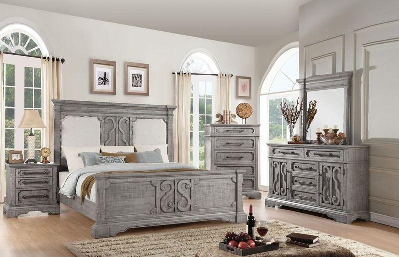 Artesia modern farmhouse style bedroom set with