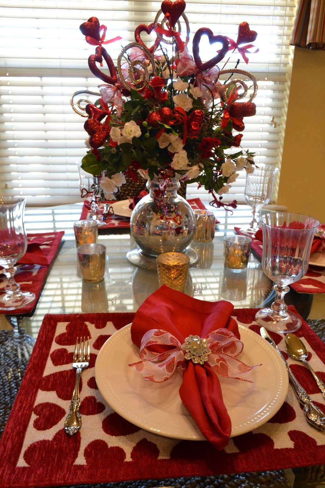 Valentine table decorations pinterest - Kristen S Creations Valentine Tablescape