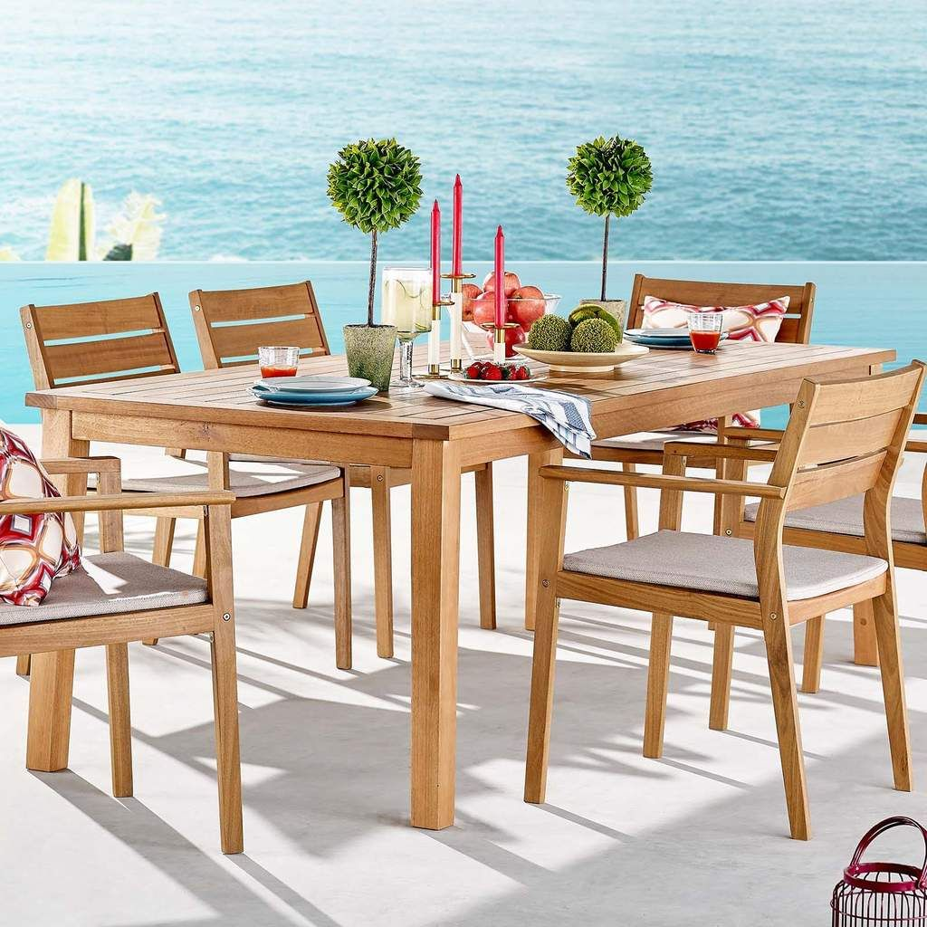 Modway Viewscape 83 Outdoor Patio Ash Wood Dining Table In 2020