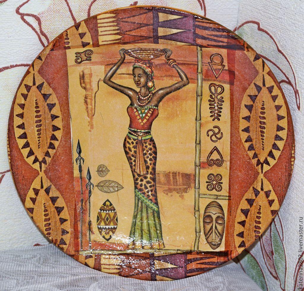 Купить Тарелка в египетском стиле большая - коричневый, египет, египетский стиль, девушке, мотив