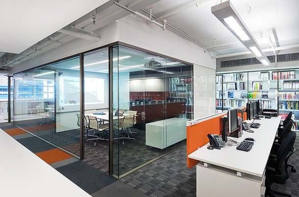 Floor to ceiling glass - great community tables #openoffice