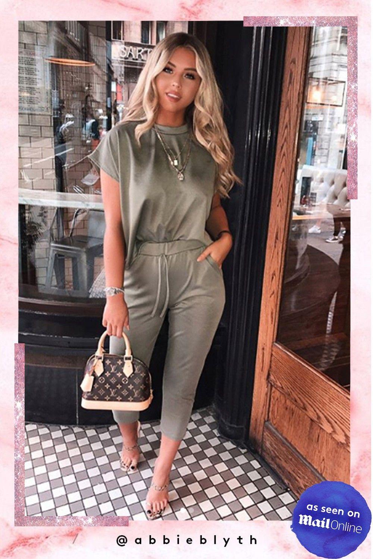 6821366c7b Sara Khaki Short Sleeve Boxy Loungewear Set