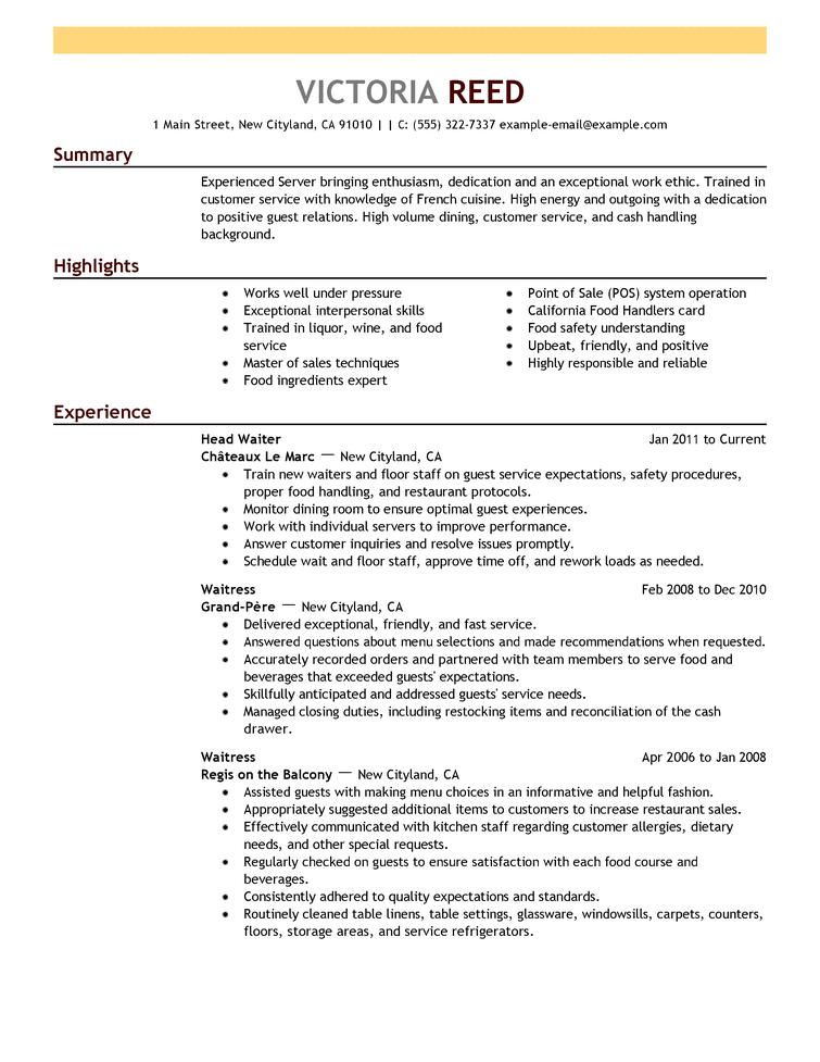 Resume Sample Good Resume Examples Server Resume Job Resume Template