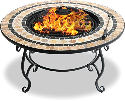 Centurion Supports NUSKU Luxurious and Premium Multi-Functional Black with Ceramic Tiles 360/° Outdoor Garden /& Patio Heater Round Fire Pit Brazier
