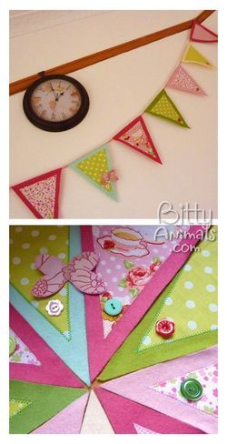 Pennant banner butterfly bunting in fabric and felt with link to