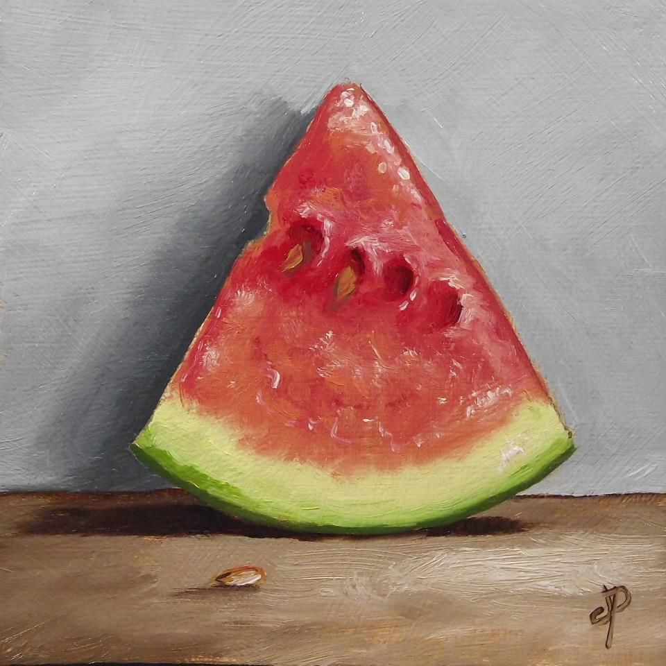 Little Watermelon Slice J Palmer Original Oil Still Life Mini Art Fruit Painting Watermelon Original Oil