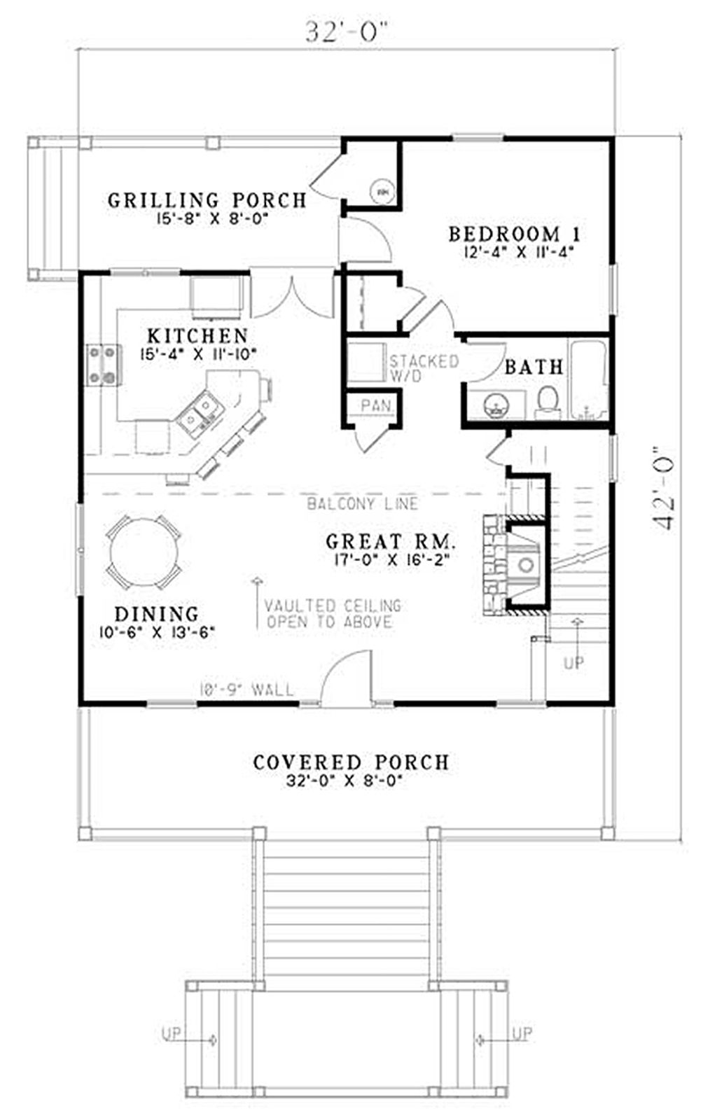 Cabin Style House Plan 2 Beds 2 Baths 1400 Sq/Ft Plan