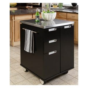 Black Kitchen Island With Stainless Steel Top