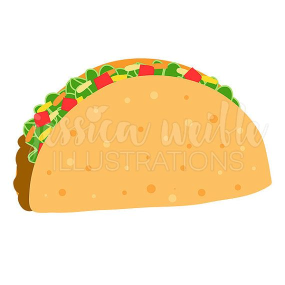 Taco drawing. Crunchy cute digital clipart
