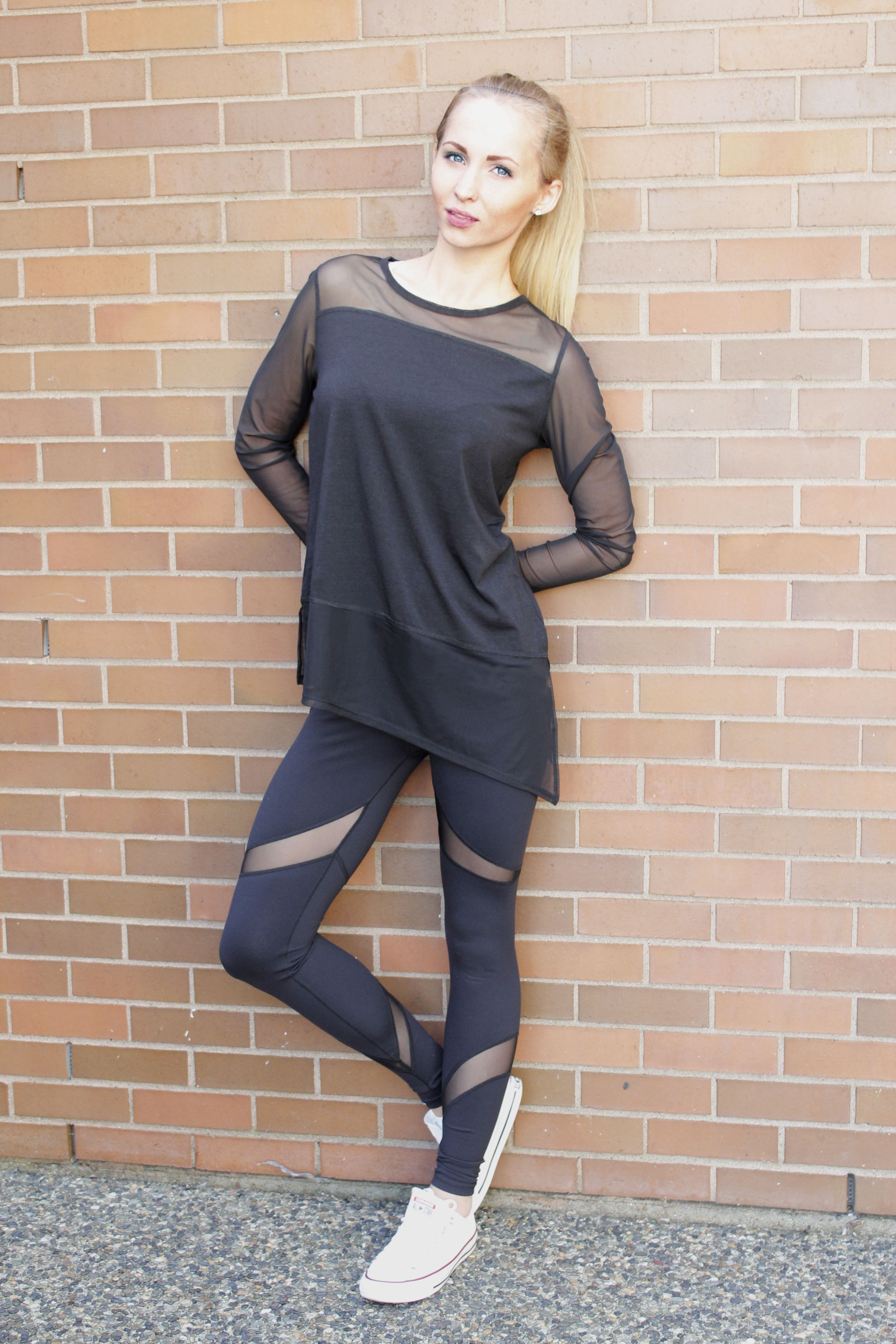 2cc5f189ed20 Catherine Long Sleeve Top with mesh detailing in Black Bamboo