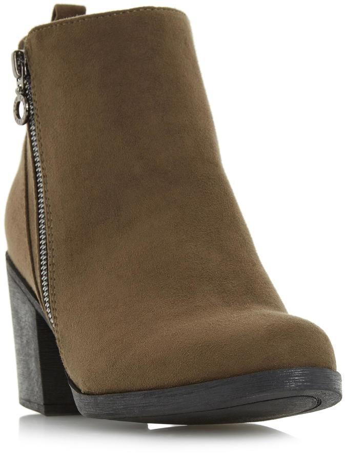 Head Over Heels by Dune PEONY - GREEN Block Heel Side Zip Ankle Boot