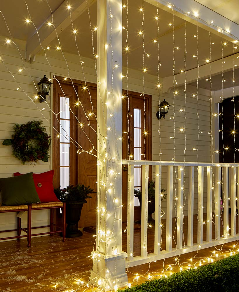 10 Ft Led Icicle Curtain Lights Decorating With Christmas Lights Christmas Light Installation Outdoor Christmas Lights