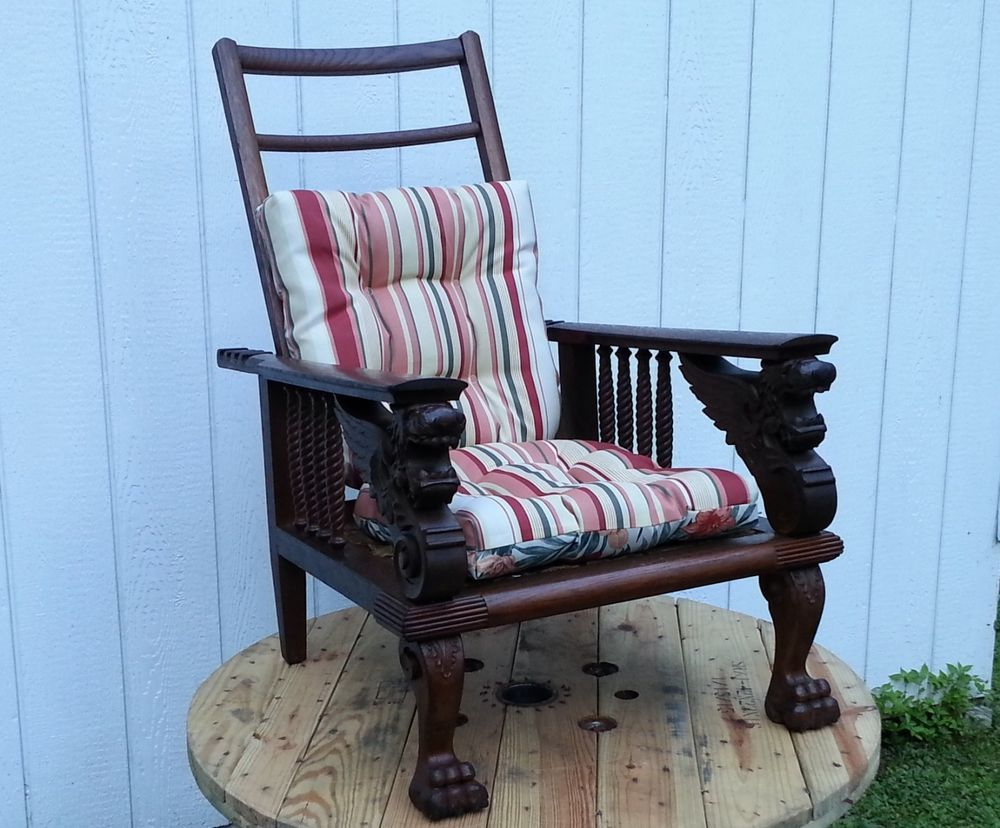 Rocking chairs morris chairs antique mission oak rocking chair - Antique Furniture 575 Oak Morris Chair Late Victorian Carved Winged Lions Griffns Victorian