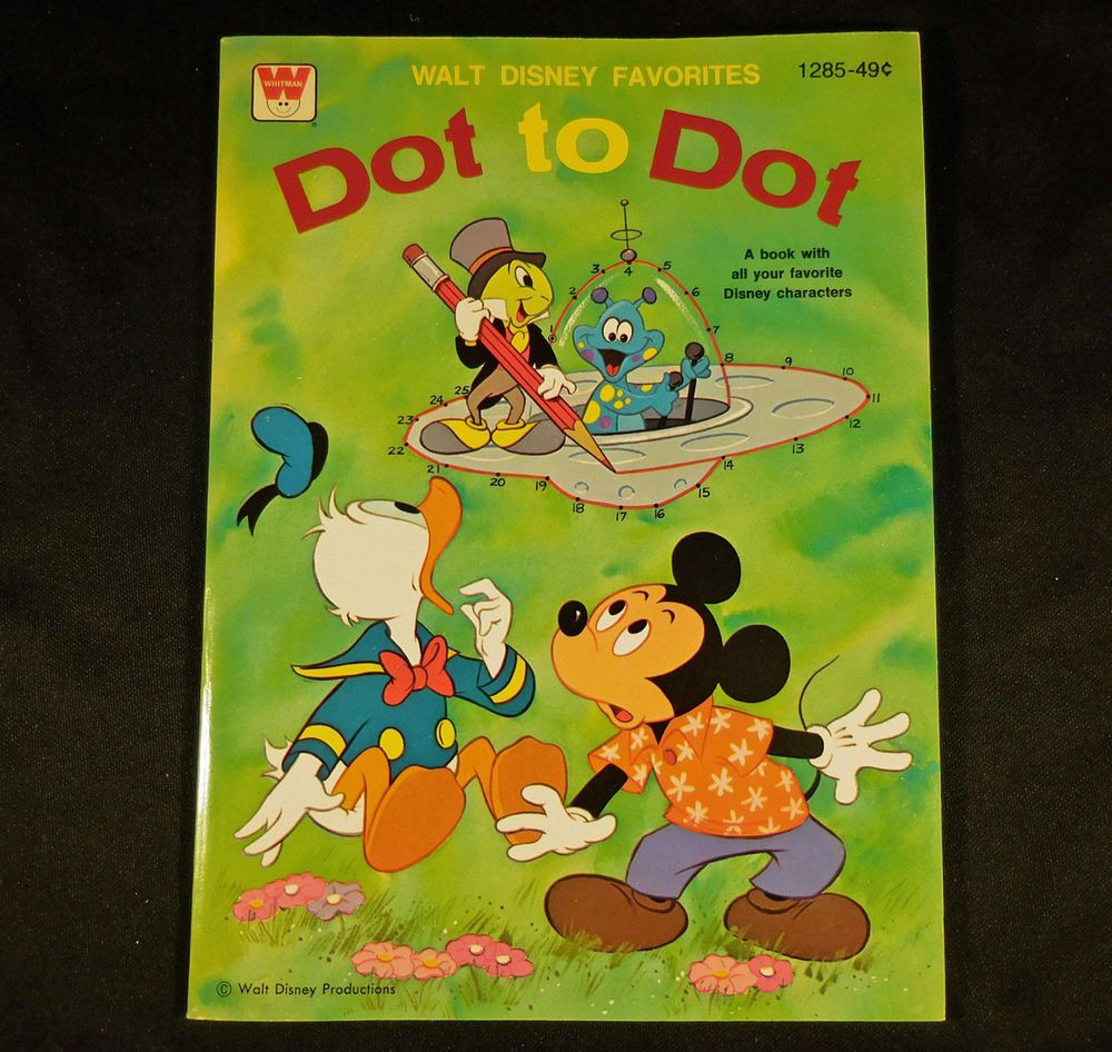 Whitman hot wheels coloring book - 1977 Vintage Whitman Disney Dot To Dot Coloring Book Walt Disney Favorites