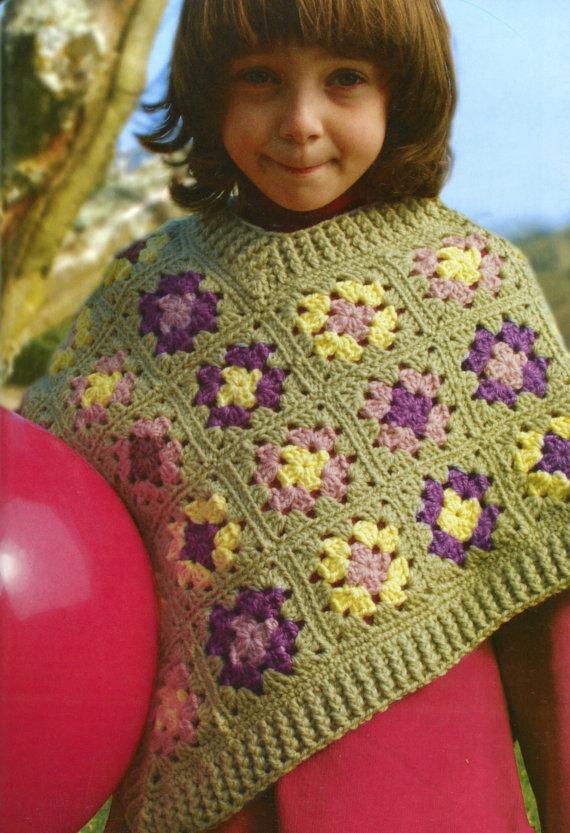Classic Granny Squares Kids Poncho Crochet Pattern | Ponchos ...