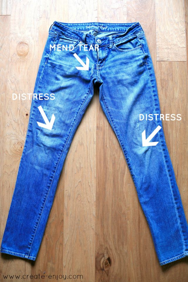 Create / Enjoy: Feeling very thrifty and crafty: jeans-mending and destroying