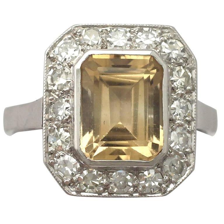 1940s French 3 62 Carat Citrine And 1 23 Carat Diamond Platinum Dress Ring Vintage Cluster Ring Diamond Dress Ring Dress Rings