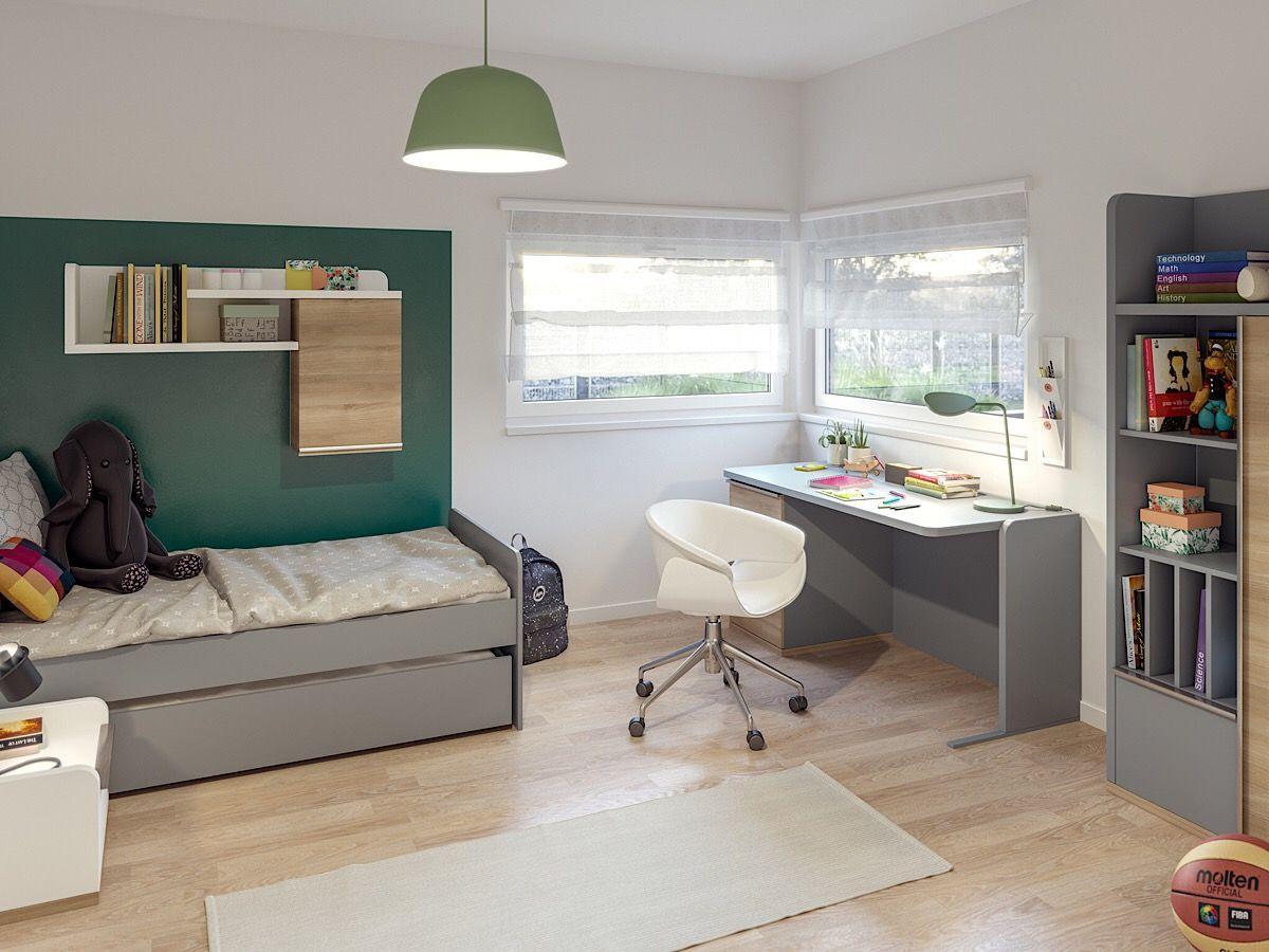 Kinderzimmer/ Jugendzimmer modern Schreibtisch & Bett