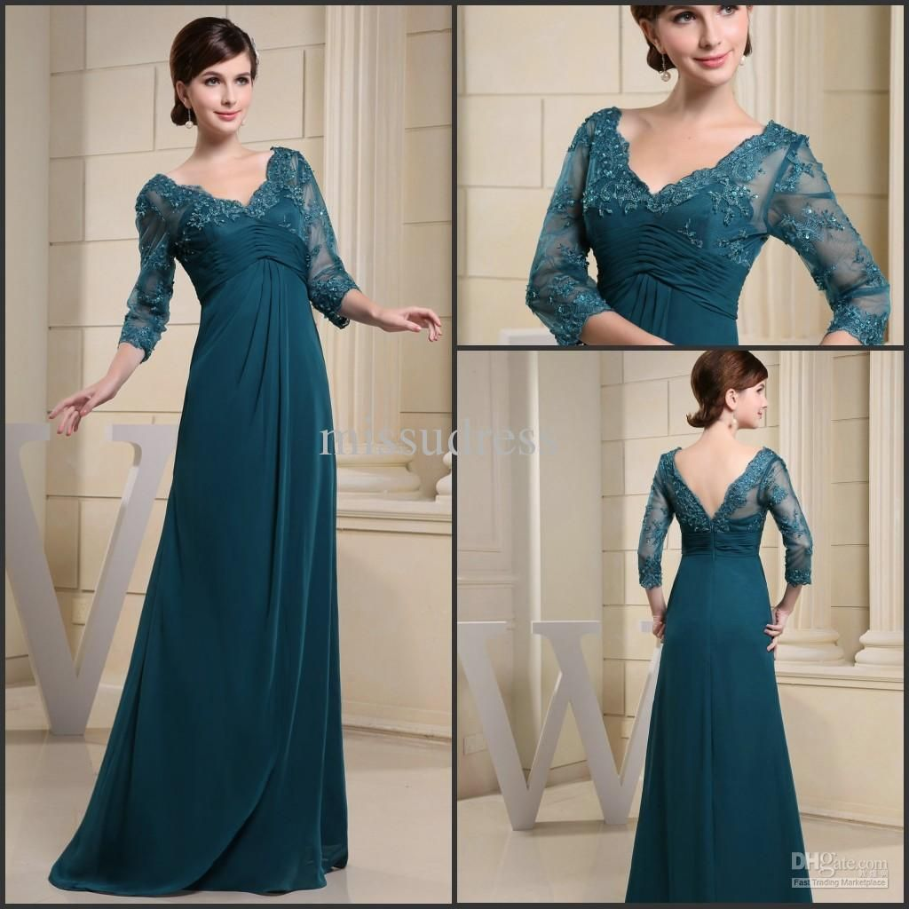Wholesale Bride Dress - Buy Modest Dark Green V-neck Mother Of The Bride Dress With Sleeves Empire Waist Chiffon Formal Gowns, $109.87 | DHgate