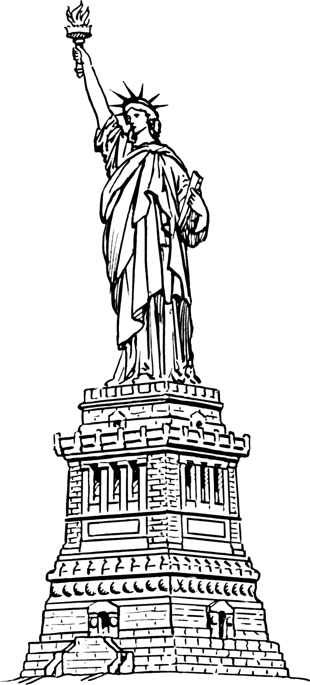 - Statue Of Liberty Outline Coloring Pages Drawing Template Gallery