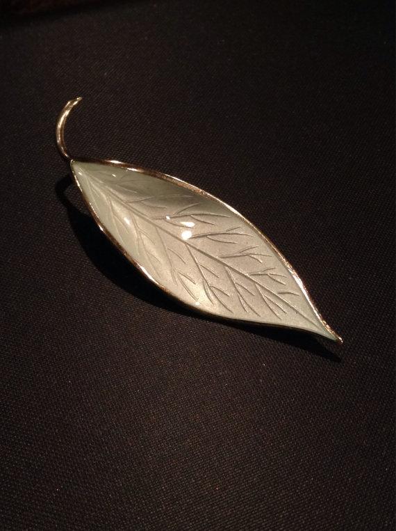 Vintage 1950's David Andersen sterling silver and white guilloche enamel leaf brooch on Etsy, $118.00
