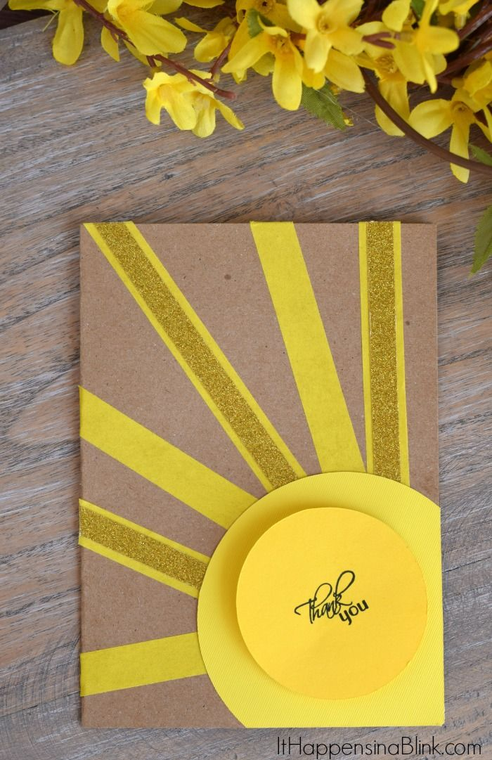 Sunshine Thank You Card Use Card Stock And Washi Tape To Create An