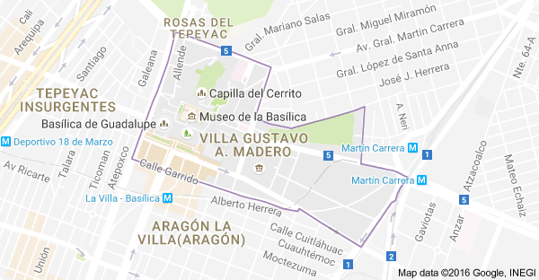 map of villa gustavo a madero mexico city mexico