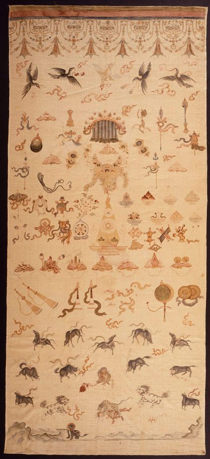 Ceremonial Offerings to the Dharmapala Eastern Tibet, Kham region, c. 1785 Mineral pigments on cotton cloth 89 × 45 1/8 × 2 3/16 in. (226.06 × 114.62 × 5.56 cm)