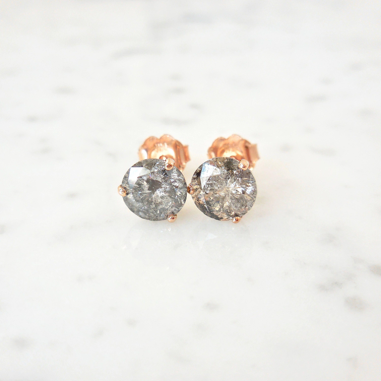 Custom Salt And Pepper Diamond Stud Earrings 1 2 3 Carat Etsy Salt And Pepper Diamond Diamond Studs Diamond Earrings Studs