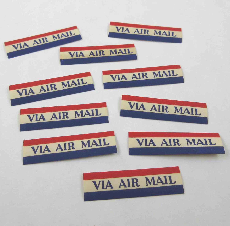 Vintage Red White And Blue Gummed Via Air Mail Seals For Postal