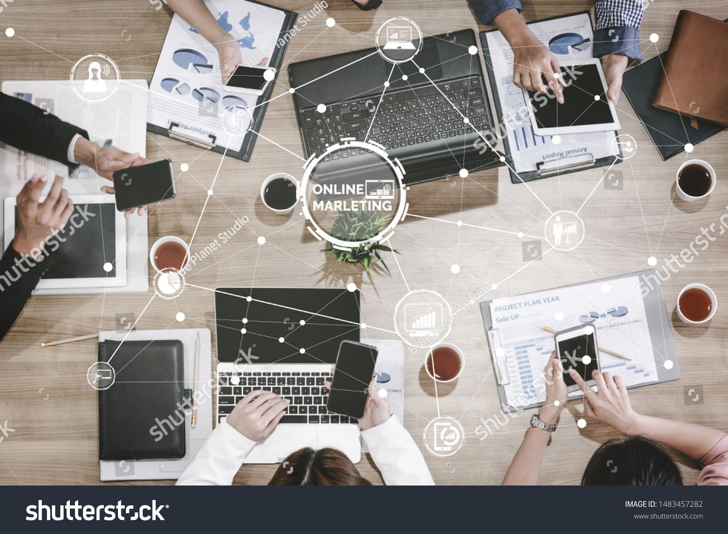 Digital Marketing Technology Solution for Online Business Concept  Graphic interface showing analytic diagram of online market promotion strategy on digital advertising p...