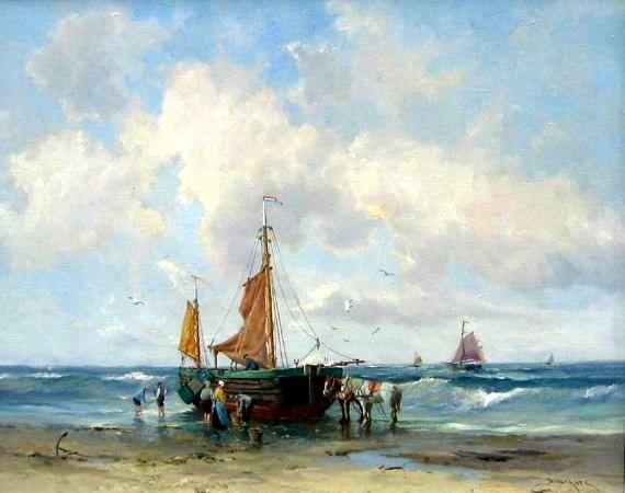 Theodorus Johannes 'Dorus' Arts (1901-1961). Een pink bij laag water op het strand van Scheveningen. Dorus Arts heeft zich laten inspireren door de schilders van de Haagse School in de 19de eeuw.