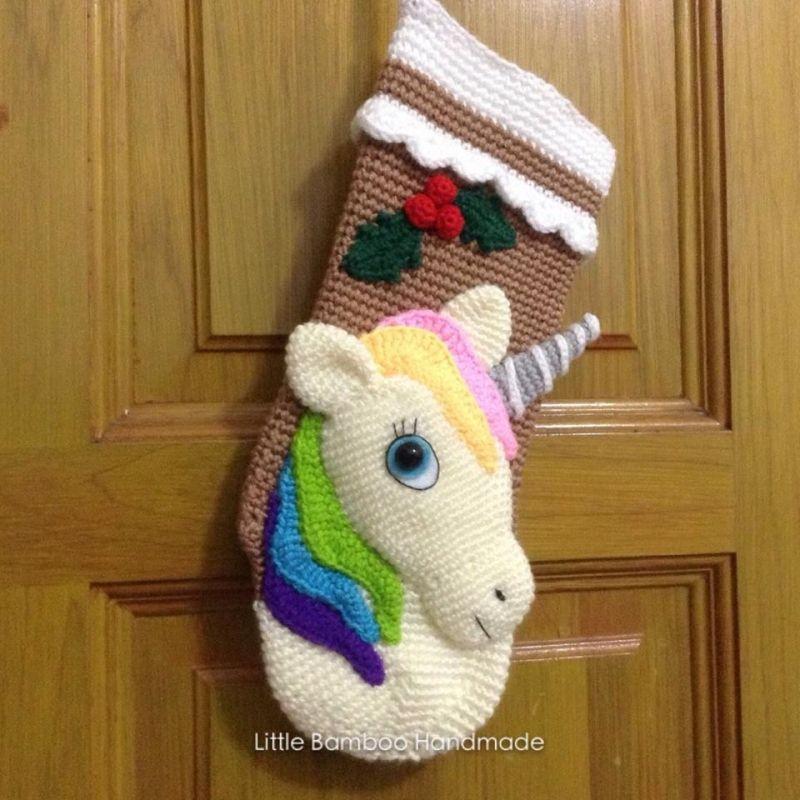 Unicorn Christmas Stocking crochet pattern by Little Bamboo Handmade ...