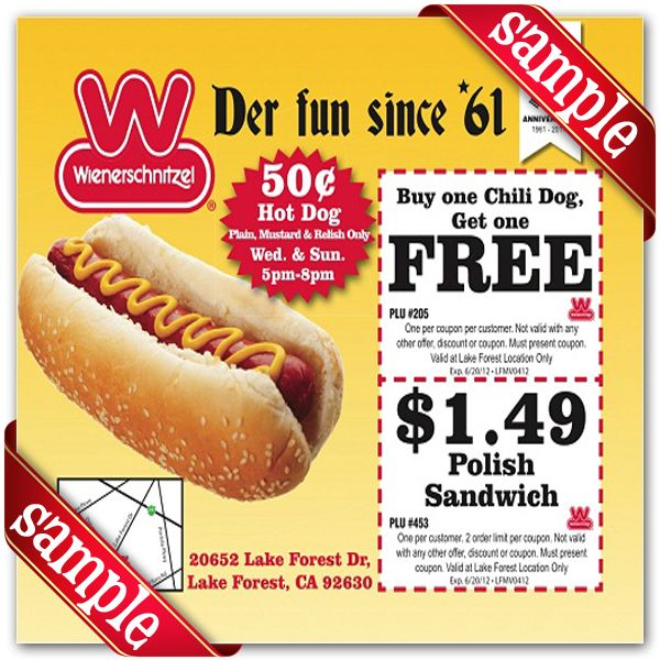 graphic relating to Printable Wienerschnitzel Coupons named Wienerschnitzel Discount codes : December 2016 der Schinitzel