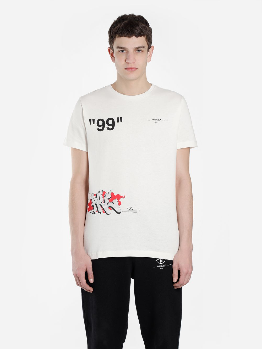Slim Fit Printed Cotton Jersey T Shirt In Off White Shirts Off