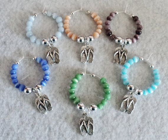 Wine Glass Charms  Set of 6  BEACH BUM by uniquelyyours2010, $11.50