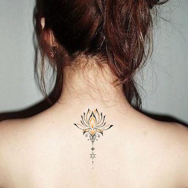 Etanche Tatouage Temporaire Autocollants Mignon Bouddha Lotus Fleurs